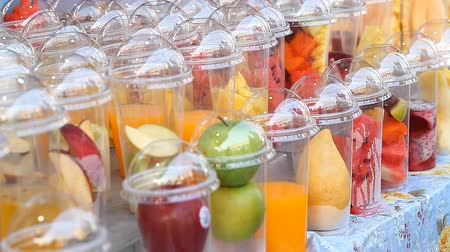 showcase : Fresh fruit cocktails on Asian street markets