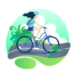 capacete : Girl riding the bicycle on a bike path through the green fields