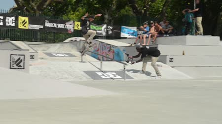 deskorolka : VISEU, PORTUGAL - JULY 27, 2014: Gustavo Ribeiro during the 2nd Stage DC Skate Challenge by Fuel TV. Wideo