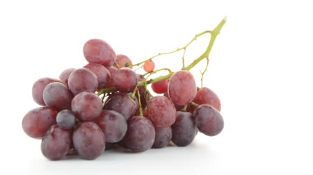 clipping path : Red grapes isolated on white background.