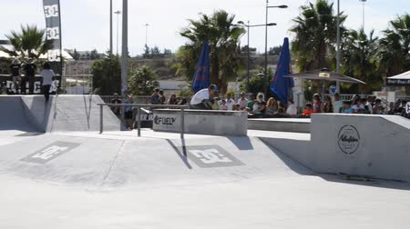 awesome : ALBUFEIRA, PORTUGAL - OCTOBER 5, 2014: Renato Moreira during the 3rd Stage DC Skate Challenge by Fuel TV. Stock Footage