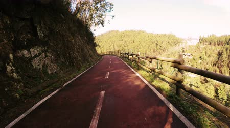 bicycle : Point of view shot of riding a bicycle in Sever do Vouga, Portugal. Features a wide view of the bike track coming out of a tunnel. Stock Footage