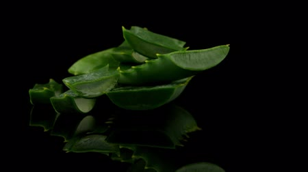 вера : Sliced aloe leaf and water drops isolated on black background.