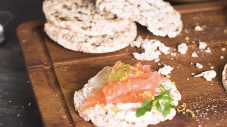 crostini : Delicious smoked salmon and cream cheese on rice bread toasts.