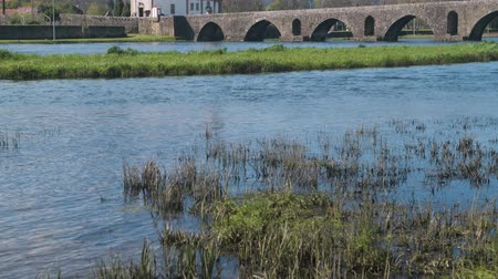 point of interest : Roman bridge crossing the Rio Lima in Ponte de Lima. Camino de Santiago - Portugal. Stock Footage