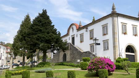 lima : PONTE DE LIMA, PORTUGAL - CIRCA APRIL 2018: General view of the city council square in Ponte de Lima, Portugal Stock Footage