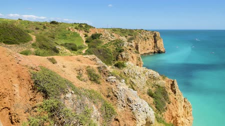ponta da piedade : Cliffs view by Atlantic Ocean, Lagos, Algarve, Portugal.