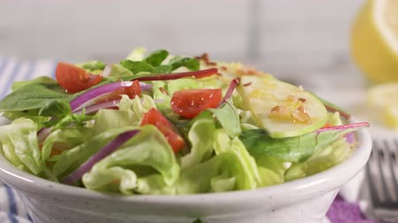 sos pomidorowy : Delicious vegetable salad with apple slices  in ceramic bowl on table. Wideo