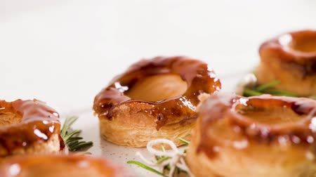 bafat : Typical Portuguese pastry Glorias, tender puff pastry topped with handmade caramel candy and special sugar syrup.