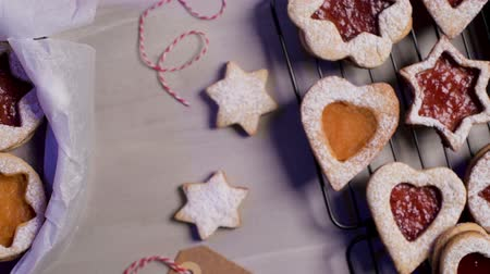 buzlu yüz : Homebaked Christmas Cookies With fruit Jam filling and Icing Sugar.
