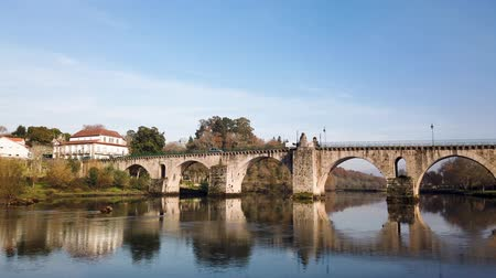 lima : PONTE DA BARCA, PORTUGAL - CIRCA JANUARY 2019: Roman bridge in Ponte da Barca. Ponte da Barca belongs to the vinho verde demarcated wine region.