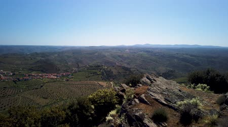 surroundings : Saint Gabriels Church viewpoint surrounding landscape, Vila Nova de Foz Coa, Portugal. Stock Footage