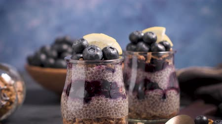 mayas : Chia pudding with blueberries on dark table. Vidéos Libres De Droits