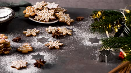 anason : Christmas cookies on kitchen countertop with festive decorations. Stok Video