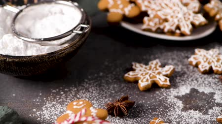 buzlu : Christmas cookies on kitchen countertop with festive decorations. Stok Video