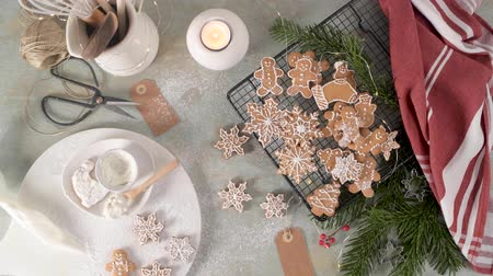 сладость : Christmas cookies on kitchen countertop with festive decorations.Christmas cookies on kitchen countertop with festive decorations. Стоковые видеозаписи