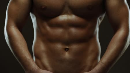 abs : Working muscles of man - abs. Slow motion