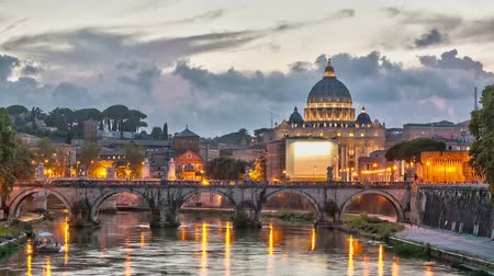 roma : Time lapse of blue hour on Vatican