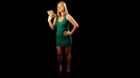 sortudo : Girl holding money and teasing you