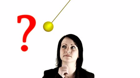 kérdések :  corporate young professional facing choices in front of a pendulum