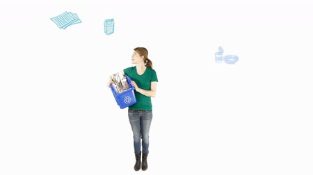 reciclagem : Woman in a white background holding a recycle bin with animatd illustrations around herself.