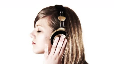 tripping : teenage girl listening her favorite music through headphones Stock Footage