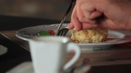 napoleon : Napoleon cake.The process of eating Dessert Raspberry Millefeuille Stock Footage