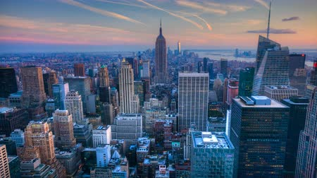 devletler : 4K UltraHD A beautiful timelapse of nightfall in the heart of Manhattan Stok Video