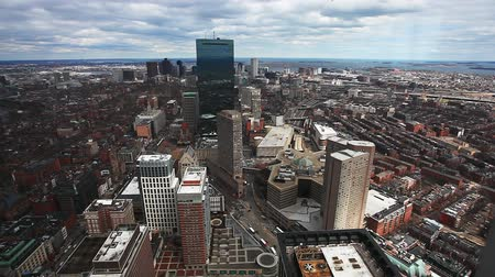 arka görünüm : A panoramic aerial of the city of Boston, Massachusetts Stok Video