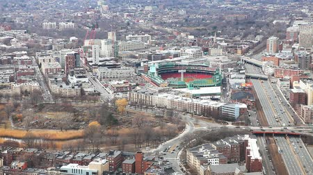 arka görünüm : An aerial of the city of Boston, Massachusetts with Fenway in background