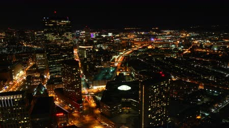 реальное время : 4K UltraHD A timelapse view of Boston at night Стоковые видеозаписи