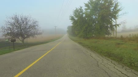řídit : Point of view drive down a country road through fog