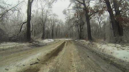 asfalt : A Point of View (POV) drive in an ice storm in winter