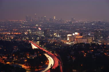 kopec : 4K UltraHD A timelapse view over Los Angeles at night with the lights of expressway traffic