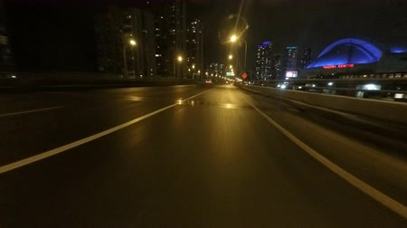 asfalt : 4K UltraHD A Point of view (POV) drive in major city at night past Rogers Center