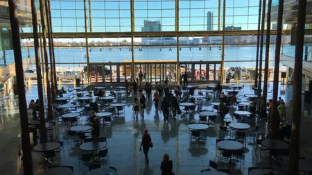 mi : 4K UltraHD View from inside the Renaissance Center in Detroit Stock Footage