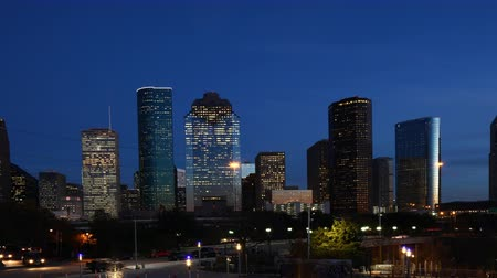 urban skyline : 4K UltraHD Day to night timelapse of the Houston city center Stock Footage