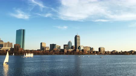 arka görünüm : 4K UltraHD View of Boston city center and the harbor Stok Video