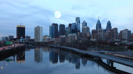 usa : 4K UltraHD Full Moon over Philadelphia