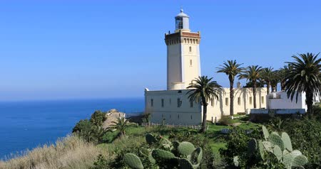 marrocos : 4K UltraHD Phare Cap Spartel Lighthouse near Tangier in Morocco Vídeos