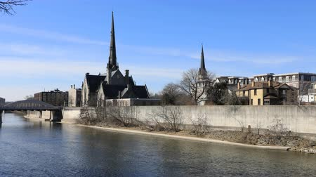 cambridge : 4K UltraHD Timelapse of the Grand River in Cambridge, Canada Stock Footage