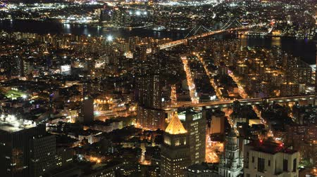américa central : 4K UltraHD Night aerial timelapse of Brooklyn and Manhattan Bridges