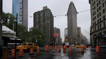flatiron building : 4K UltraHD Timelapse of the Flatiron Building on a rainy day Stock Footage