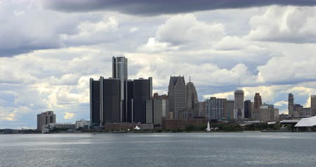 mi : Detroit Skyline from Belle Isle 4K Stock Footage