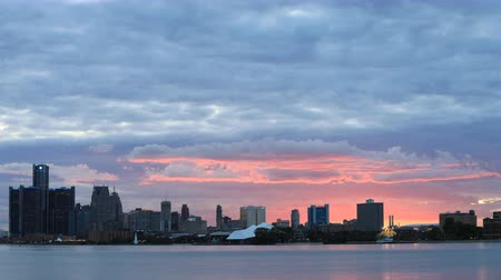 mi : Timelapse of Detroit Skyline from Belle Isle at sunset 4K Stock Footage