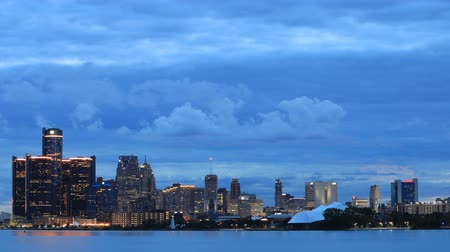 mi : Timelapse of Detroit Skyline from Belle Isle during sunset 4K Stock Footage