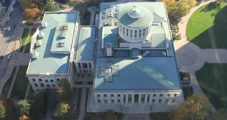 capitol : Aerial view of the Ohio statehouse in Columbus 4K