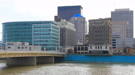 dayton : Timelapse of the Dayton city center with Miami River in front 4K