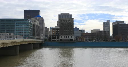 dayton : View of the Dayton city center with Miami River in front 4K