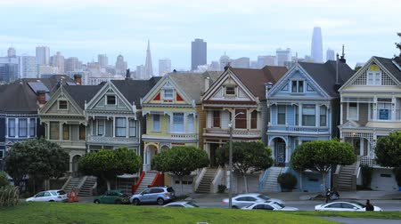 victorian : Timelapse of the Painted Ladies. townhouses in San Francisco 4K Stock Footage